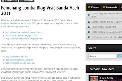 Alhamdulillah, Juara I Lomba Blog Visit Banda Aceh 2011