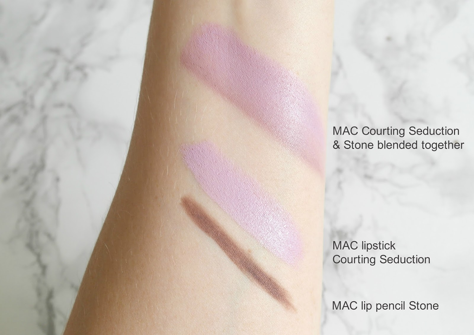 MAC Courting Seduction lipstick, MAC Stone lip liner, swatches