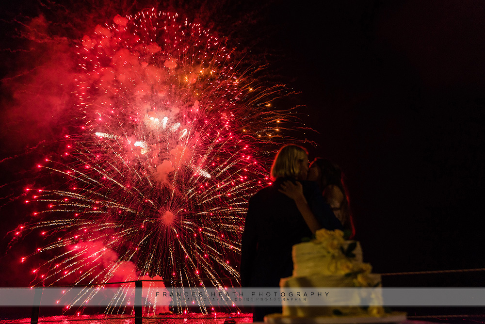 Cutting of the cake with fireworks