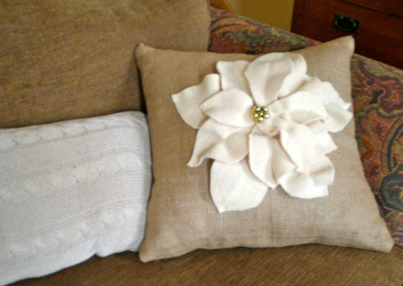 Pottery Barn Poinsettia Pillow Knock Off Sweetwater Style