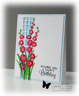 Diana Nguyen, Impression Obsession, Hollyhock, die, birthday, square cutout border