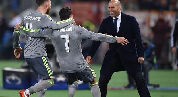 Cristiano Ronaldo & Sergio Ramos après le but face à AS Roma