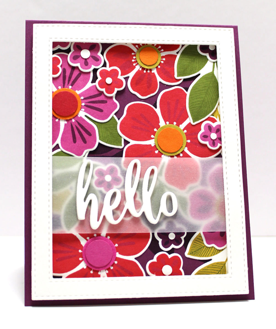 Handmade card from Jody Morrow featuring Flashy Florals stamp set and Die-namics, Thanks & Hello and Stitched Rectangle Frames Die-namics #mftstamps