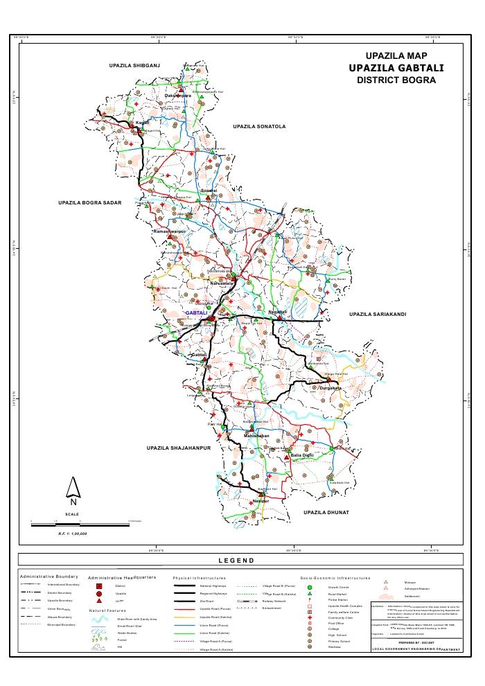 Gabtali Upazila Map Bogra District Bangladesh