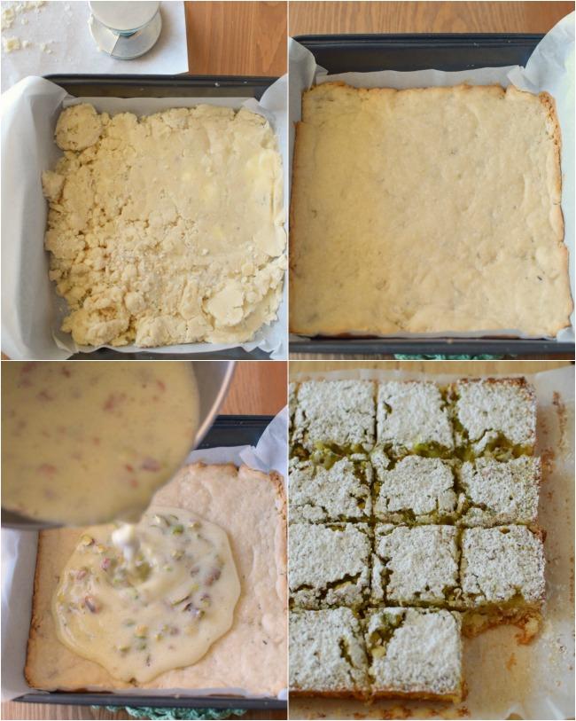 Receta de cuadritos de lima, pistacho y romero, combinación de sabores y textura inigualables. En bizcochosysancochos.com