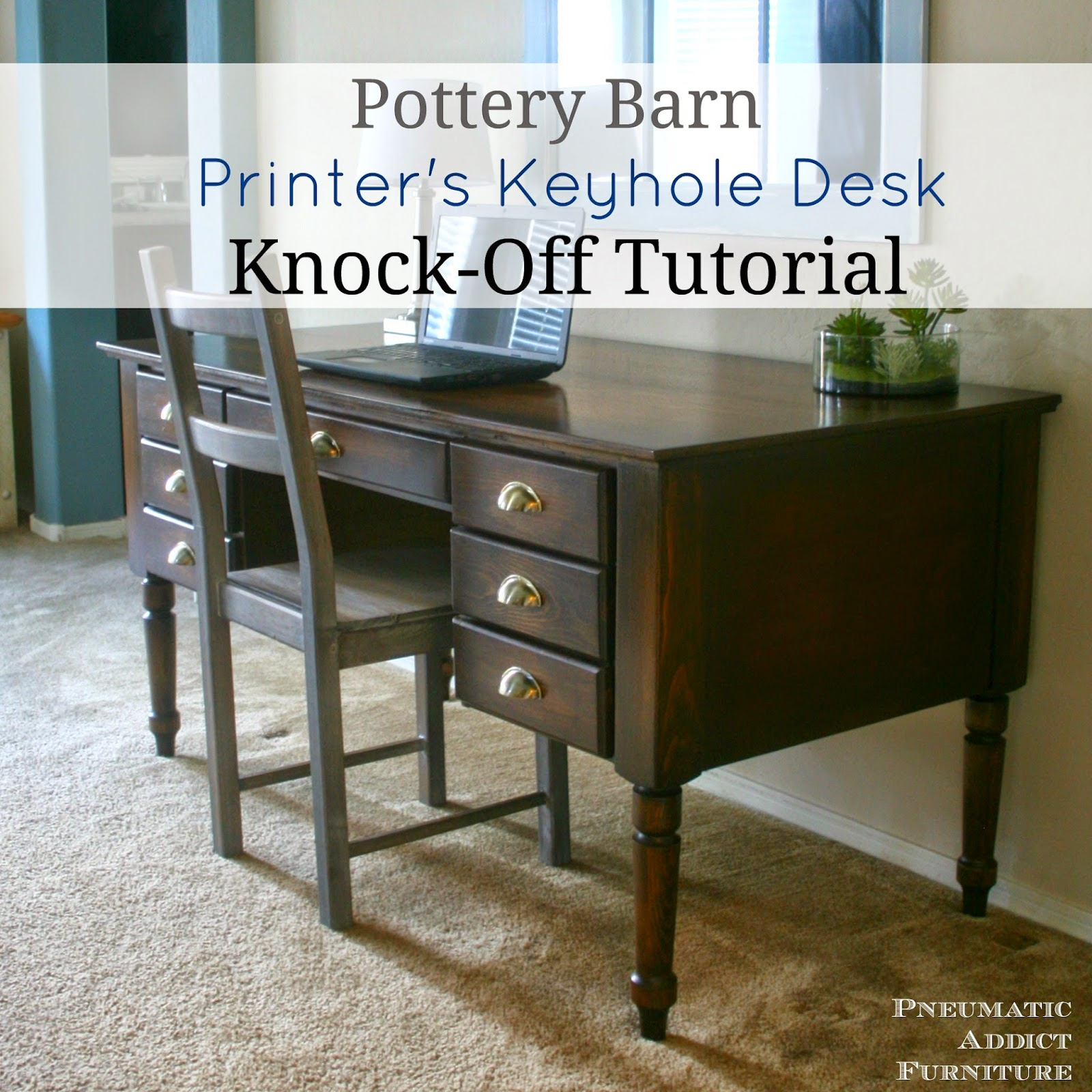 Pottery Barn Printer S Keyhole Desk Knock Off Tutorial Pneumatic Addict