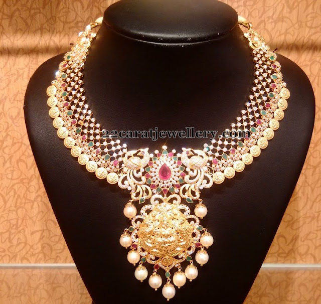 Stones Necklace with Lakshmi Kasu