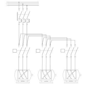 Sistem kontrol motor Listrik 3 fasa hidup mati berurutan