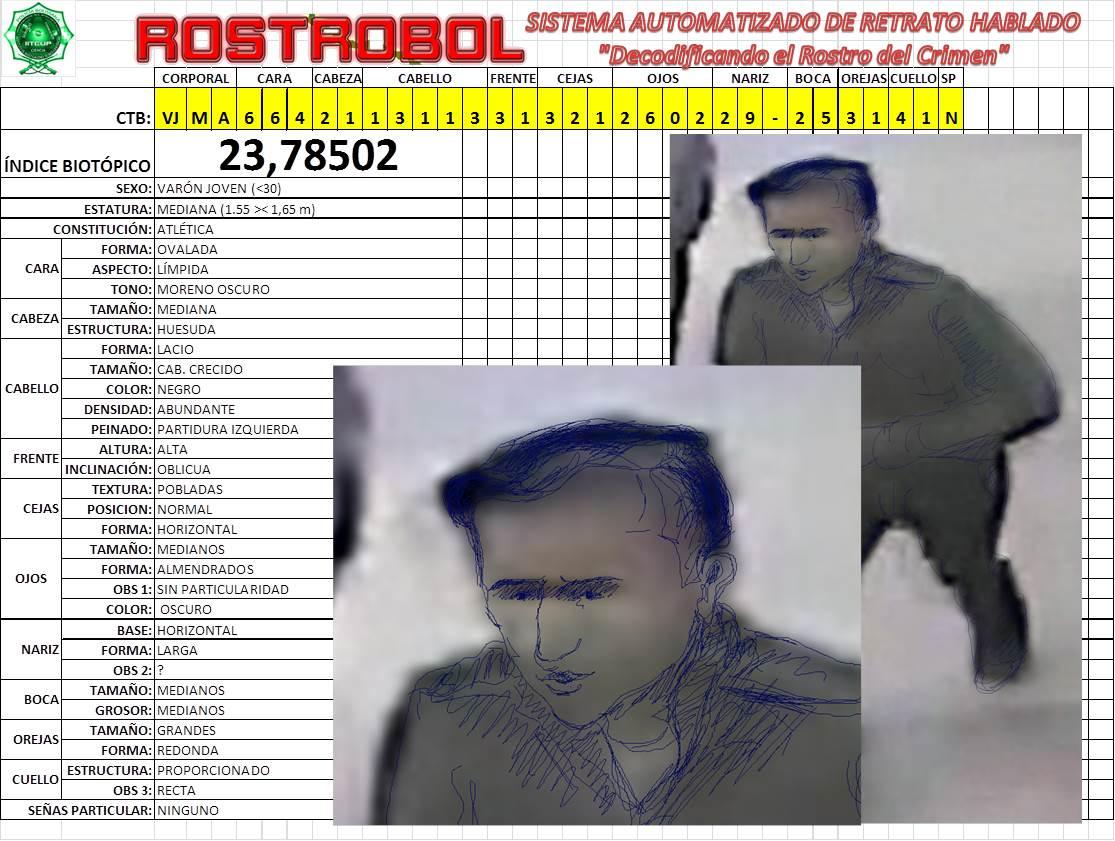 Identikit del sospechoso de colocar la segunda carga de dinamita en Oruro / POLICIA NACIONAL