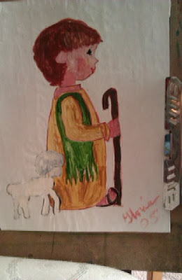 Lil  shepherd boy cartoon drawn & painted by Gloria Poole / Gloria in Atlanta, GA