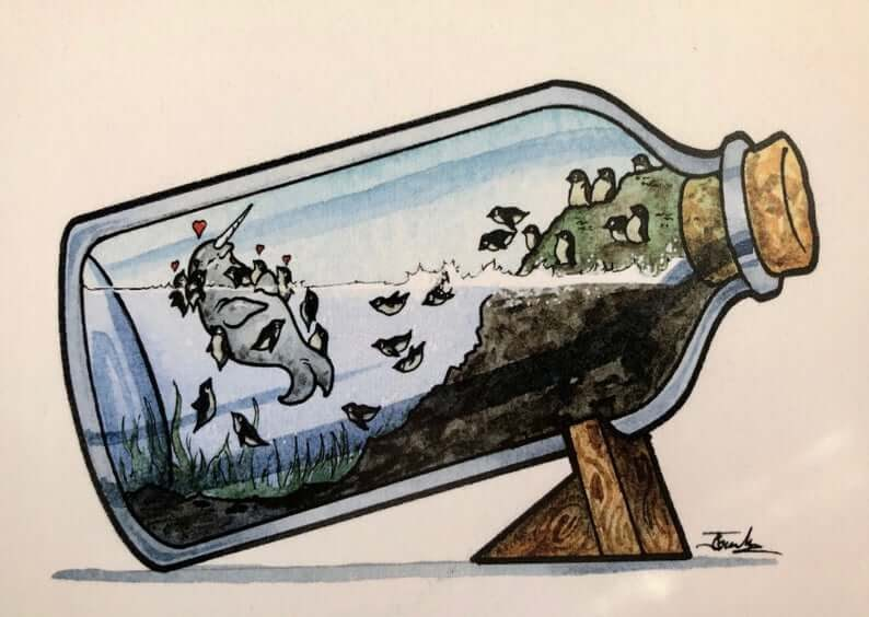 07-Penguins-love-Narwals-Jon-Guerdrum-Ship-in-a-Bottle-Drawings-and-Paintings-www-designstack-co