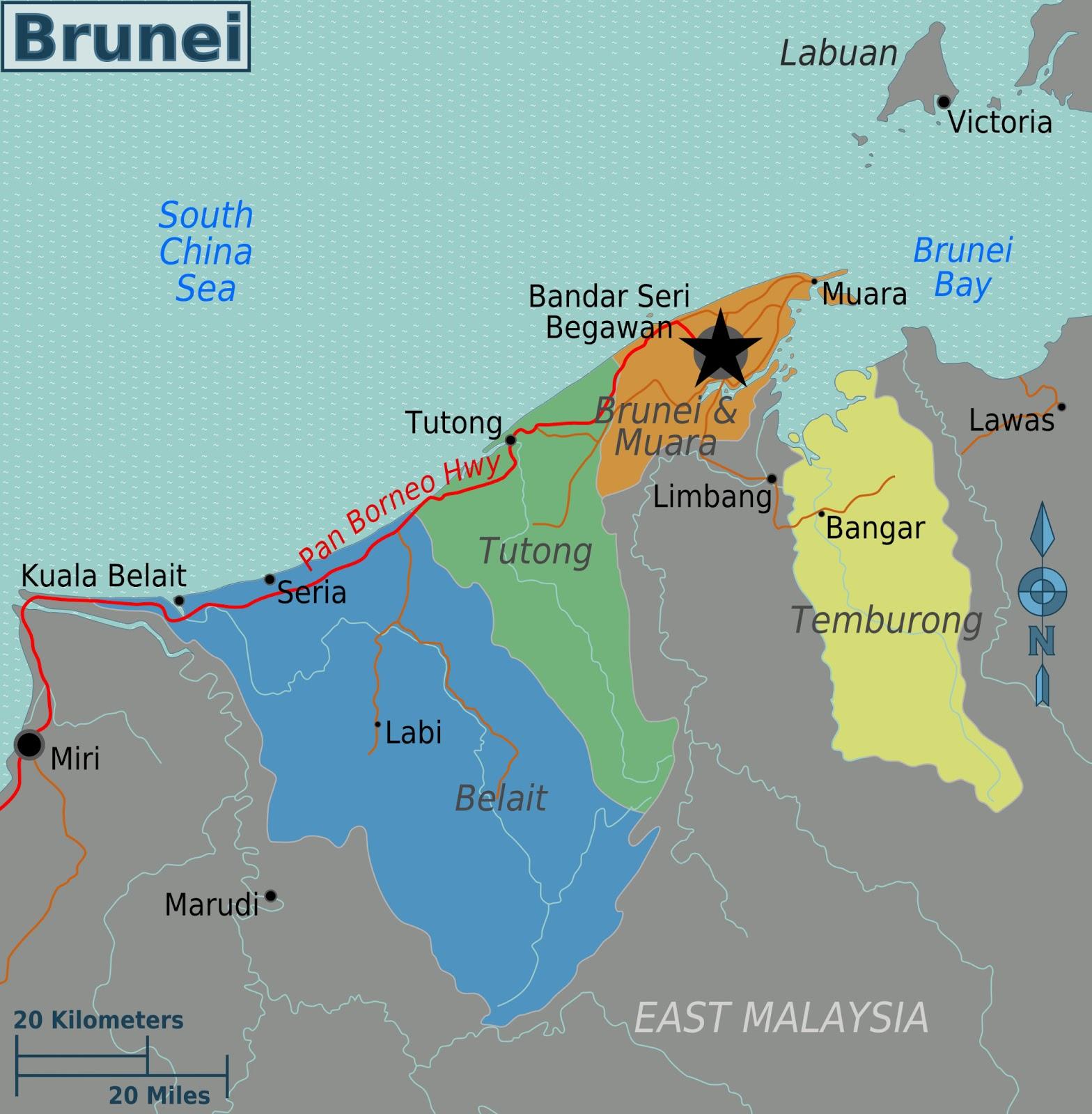 Brunei | Mapas Geográficos de Brunei