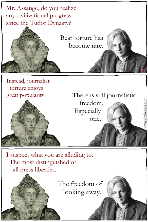 Press freedom, Julian Assange, USA, GB, democracy, media, satire, comic, cynical