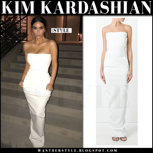 Kim Kardashian in white strapless maxi dress rick owens at Family Equality Council's Impact Awards red carpet what she wore