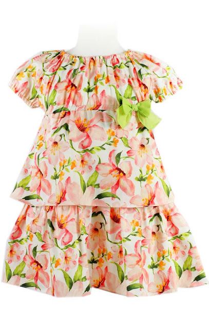 Peach & Lime Floral Dress | Tartaleta | European Kids Fashion