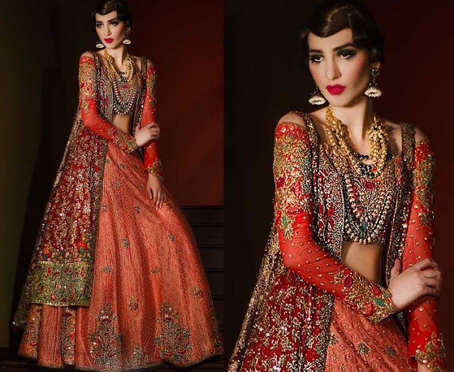 Royal Naksha Dabki Choli Lehnga By Tena Durrani www.fashionwearstyle.com