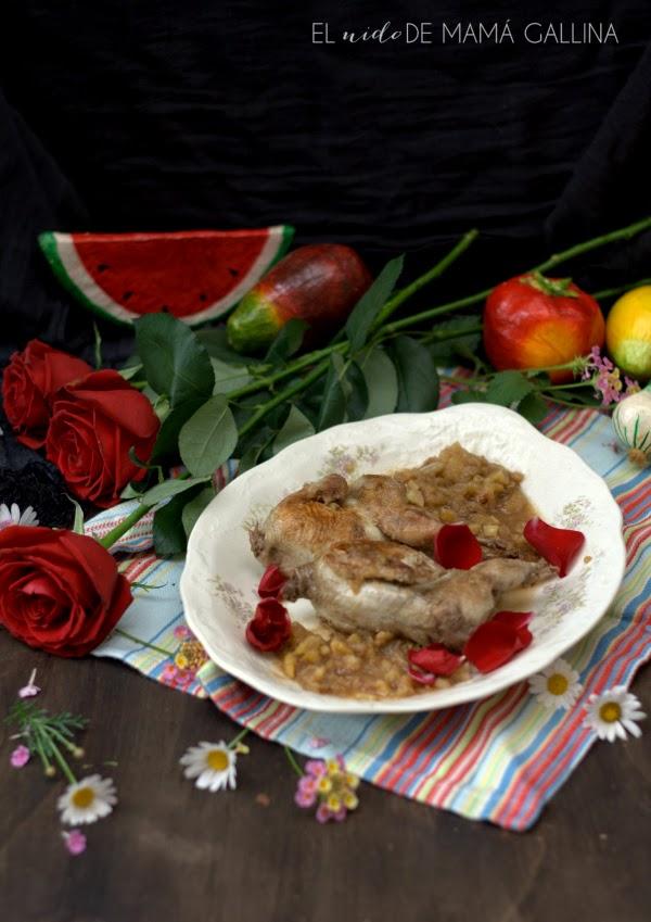 codornices con rosas
