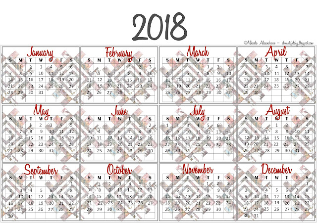 2018 one page Calendar free printable - abeeautifulday.blogspot.com