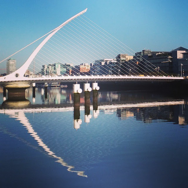 One Day in Dublin City: the Samuel Beckett Bridge along the River Liffey