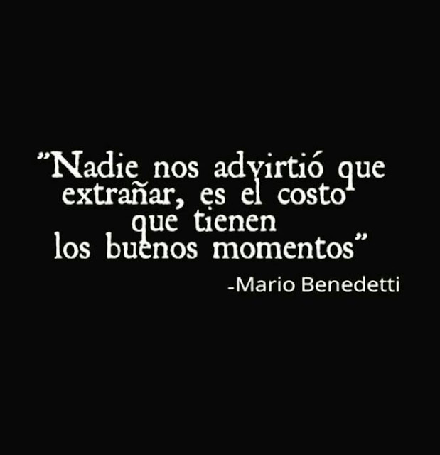 """""""Nadie nos advirtió que extrañar, es el costo que tienen los buenos momentos"""" Mario Benedetti"""