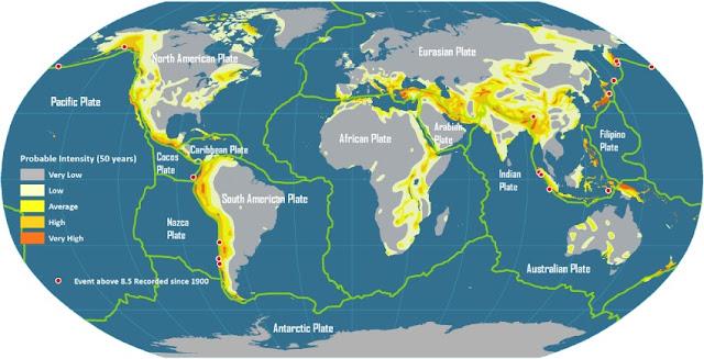 Mapamundi con placas tectónicas y zonas de alto riesgo sísmico