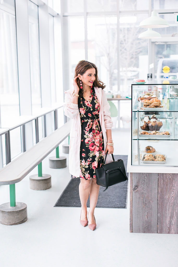 Blogger Outfit Floral Dress Pink Raincoat Black Belt Bag Pink Ball Earrings