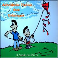 Figura mostrando pai e filho empinando uma pipa para incentivo das atividades físicas para crianças