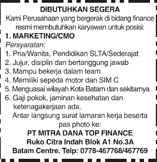 Lowongan Kerja PT. Mitra Dana Top Finance