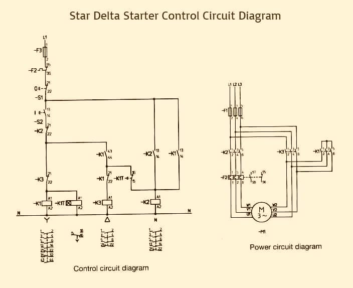 Star    Delta    Starter Control   Power    Circuit       Diagram