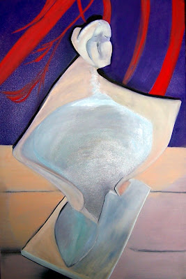 Oil on canvas, 20 x 24 oil on canvas, 2004.  This work is a painting of the sculpture called Almost There  See Sculpture page of Timeless Expression by Maguire blog posts