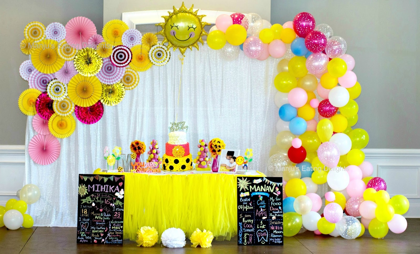 Manju S Eating Delights You Are My Sunshine Themed Birthday Mihika Turns 1 And Manav Turns 6