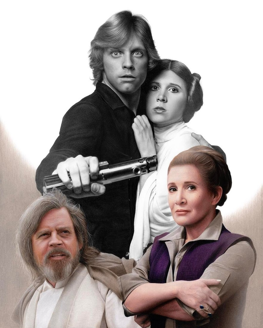 01-Carrie-Fisher-Princess-Leia-Colored-Luke-Skywalker-Star-Wars-Heather-Rooney-Photorealistic-Colored-Pencil-Drawing-Portraits-www-designstack-co