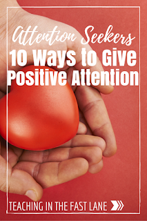 Are attention seekers sucking the life out of you in the classroom? Try these ten tips for keeping their need for attention satisfied with positive attention. The 4th and 8th tips are my favorite!