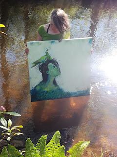 seaweed, tang, sund, nymfeparakit,cockatiel, landskab, abstrakt, galleri, kunst til salg, art for sale, art, colourful, painting, abstrakt, sjov