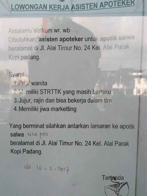 Lowongan Kerja di Padang – Apotik Salwa – Asisten Apoteker (Closed 16 Maret 2017)