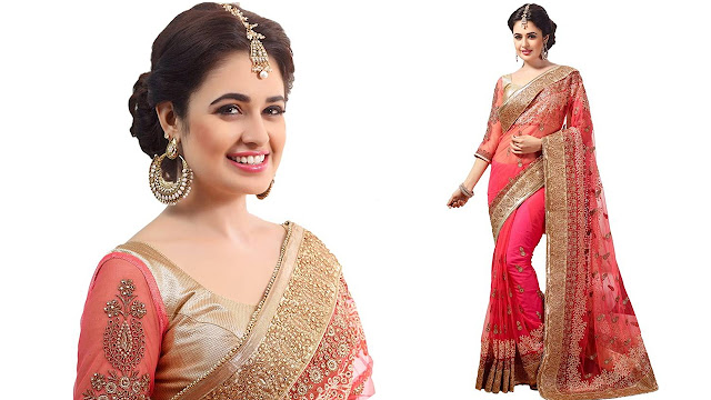 M.S.Retail Embroidered Bollywood Net Saree  (Pink)
