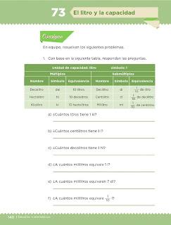 Apoyo Primaria Desafíos Matemáticos 5to Grado Bloque IV Lección 73 El litro y la capacidad