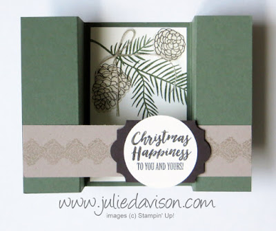 Stampin' Up! Christmas Happiness Bridge Card ~ 2017 Holiday Catalog ~ www.juliedavison.com