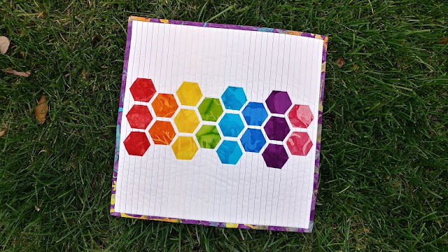 Rainbow modern hexies mini quilt with Island Batik fabrics