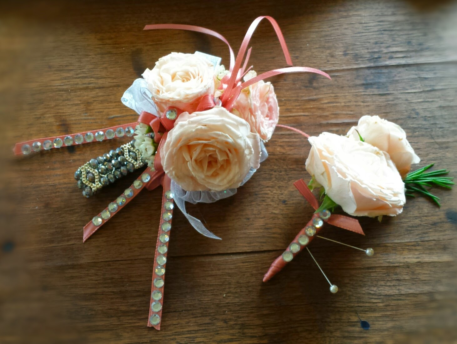 Prom '15 wrap up - Roses. Garden miniature rose corsage and boutonniere