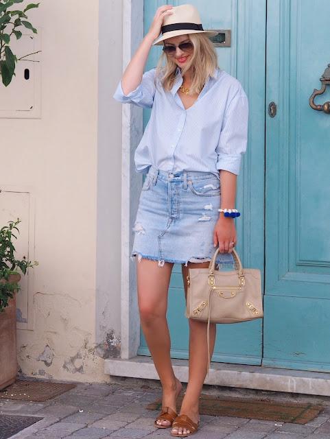 balenciaga city bag, leather sandals, ysl dupe sandals, boyfriend shirt