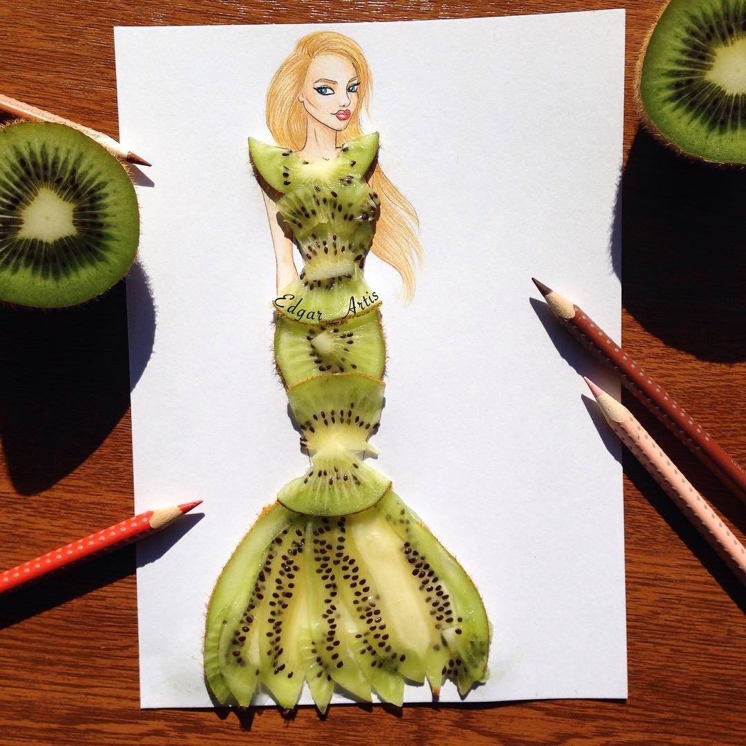 14-Kiwi-Edgar-Artis-Drink-Food-Art-Dresses-and-Gowns-Drawings-www-designstack-co