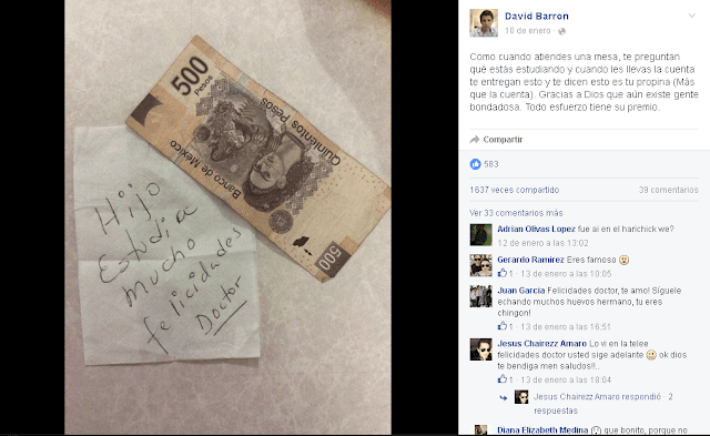 Mujer sorprende al dejar 500 pesos de propina a un estudiante veracruzano