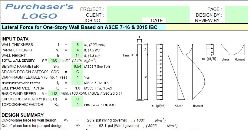 Lateral Force For One Story Wall Spreadsheet
