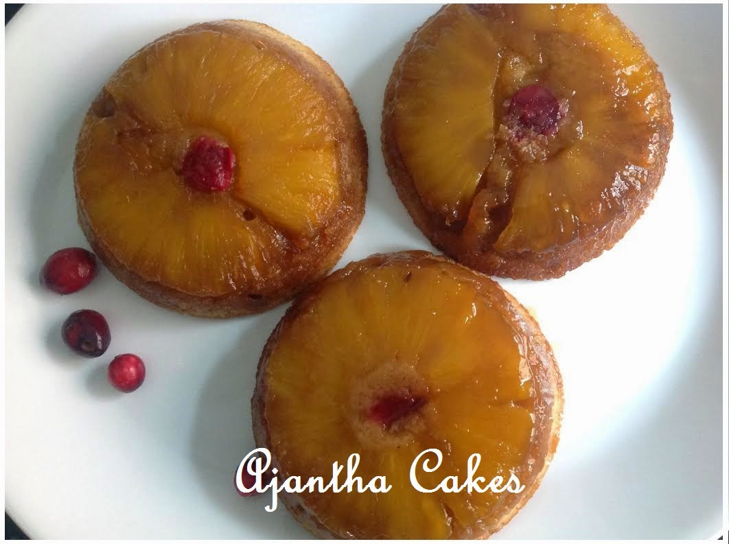 Ajantha Cakes/Pineapple, Cranberry Upside-down Cake