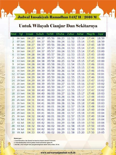 Jadwal Imsakiyah Ramadhan 1437 H / 2016 M Untuk Kota Cianjur