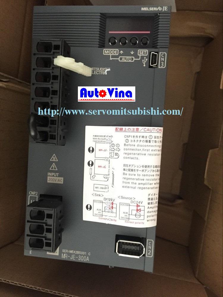 Tổng đại lý phân phối động cơ, bộ điều khiển AC Servo 3kW MR-JE-300A Mitsubishi, động cơ Motor HG-SN302J / HF-SN302BJ