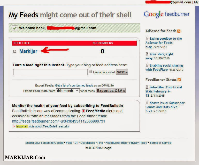 Mengatasi Error : The feed does not have subscriptions by email enabled