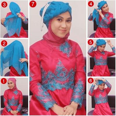 Tutorial Hijab Pengantin Turban untuk Resepsi Pesta Pernikahan cocok juga untuk Akad Nikah