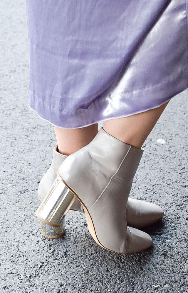 Booties mit Blockabsatz, Stiefel mit Absatz in Silber